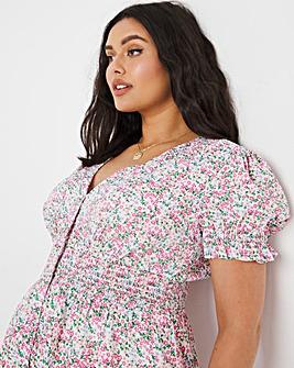 Peplum Shirred Waist Button Front Blouse