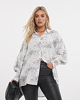 Mono Print Oversized Shirt