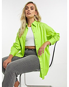 Lime Cotton Poplin Oversized Boyfriend Shirt