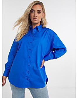 Blue Cotton Poplin Oversized Boyfriend Shirt