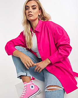 Pink Cotton Poplin Oversized Boyfriend Shirt