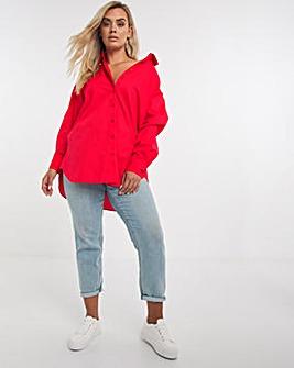 Red Cotton Poplin Oversized Boyfriend Shirt