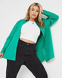 Emerald Cotton Poplin Oversized Boyfriend Shirt