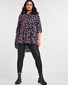 Black Floral Dipped Back Tunic Shirt