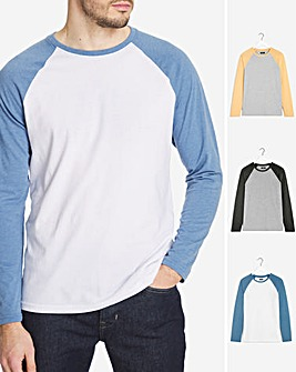 Pack of Three Raglan Long Sleeve T-Shirt