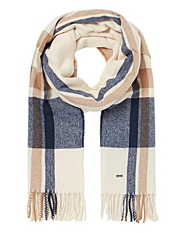 Joules Farah Cream Check Scarf