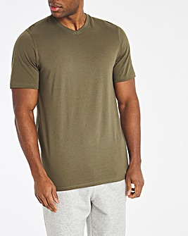 Khaki V Neck Core Tee Long