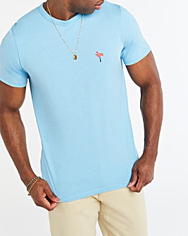Blue Flamingo Embroidered Tee L