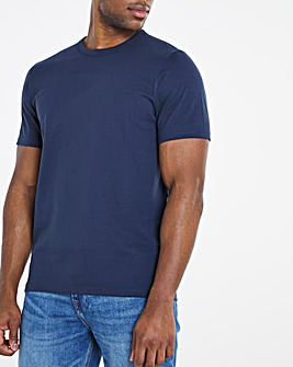 Heavyweight Navy Bound Neck Tee Long