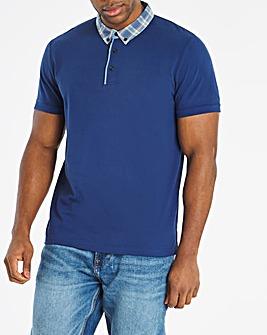 Blue Woven Collar Polo L