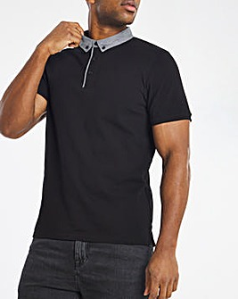 Black Woven Collar Polo Regular