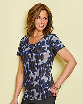 Blue Print Round Neck Jersey Top