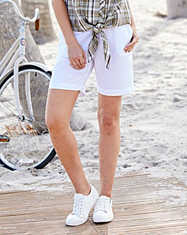 Julipa White Linen Shorts