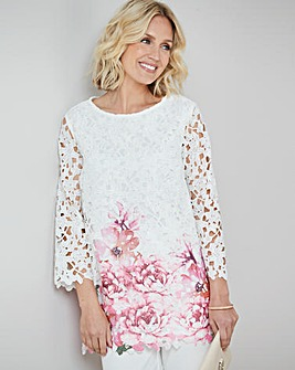 Border Print Lace Tunic