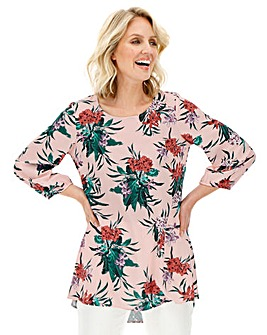 Julipa Pink Floral Bubble Crepe Tunic