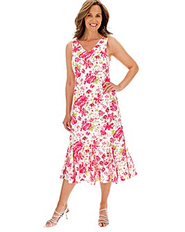 Voile Print Bias Cut Dress