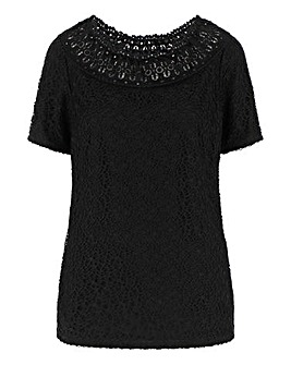 Julipa Black Lace Top with Trim