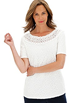 Julipa Ivory Lace Top with Trim