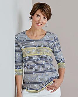 Stripe Floral Print T Shirt