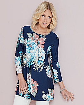 Floral Print Stretch Jersey Tunic