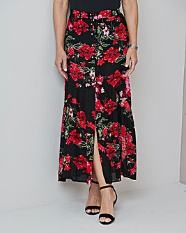 Julipa Crinkle Button Through Maxi Skirt