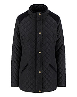 Padded Jacket with Corduroy Trim