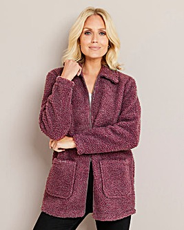 Julipa Berry Zip Up Teddy Fleece with Pockets