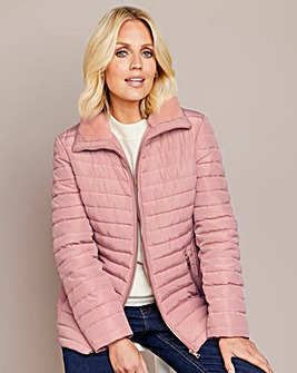 Julipa Pink Padded Jacket with Faux Fur