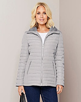 Julipa Grey Padded Jacket with Faux Fur