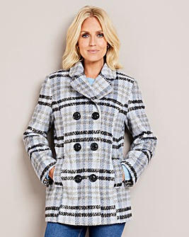 Julipa Blue Check Double Breasted Coat