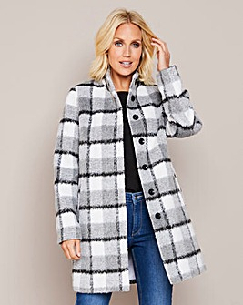 Julipa Grey Check Funnel Neck Coat