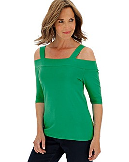Julipa Green Bardot Strap Jersey Top