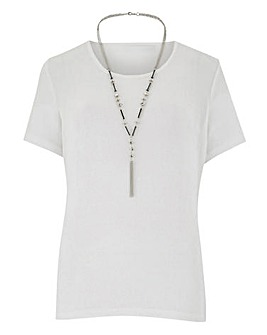 Julipa Ivory Slinky Tshirt With Necklace