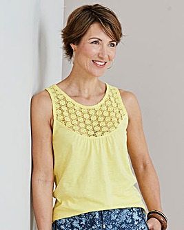 Julipa Yellow Sleevless Lace Trim Jersey Top