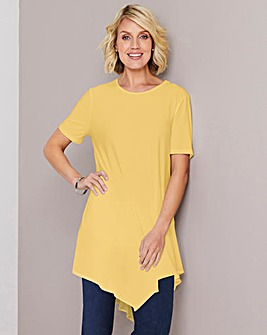 Julipa Lemon Jersey Tunic with Chiffon Trim