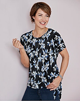 Julipa Blue Floral Plisse Knotted Top