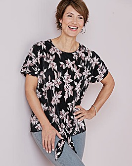 Julipa Pink Floral Plisse Knotted Top