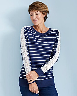 Julipa Leisure Stripe Sweatshirt with Lace