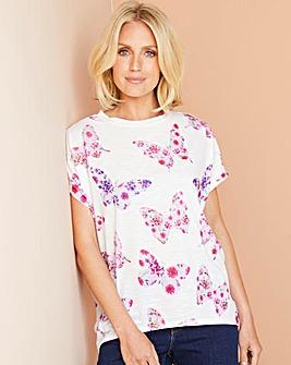 Butterfly Print Oversized Jersey T Shirt