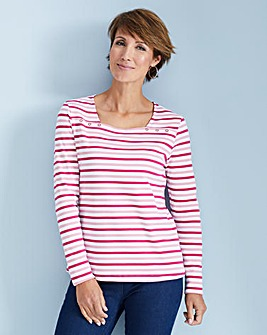 Julipa Leisure Stripe Square Neck TShirt