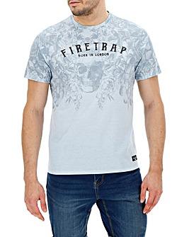 Firetrap Skull Floral Decay T-Shirt L