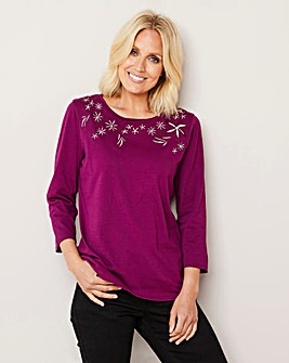 Berry Embroidered Jersey Top