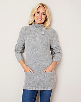 Julipa Silver Boucle Cowl Neck Jumper