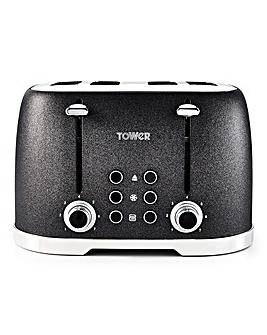 Tower Glitz Sparkle 4 Slice Black Toaster
