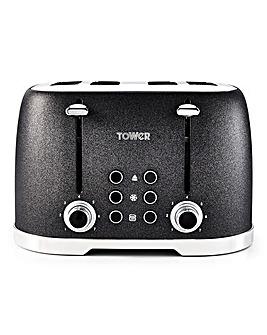 Tower Glitz Sparkle 4 Slice Black Toaster