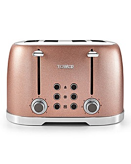 Tower Glitz Sparkle 4 Slice Blush Pink Toaster