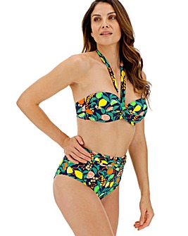 Twist Front Fruit Print Bikini Top