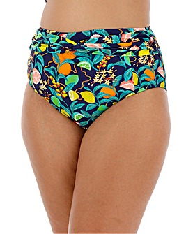 Twist Front Fruit Print High Waist Brief