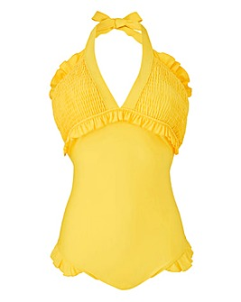 Shirring V Neck Swimsuit