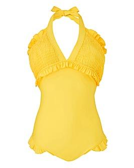 Shirring V Neck Swimsuit
